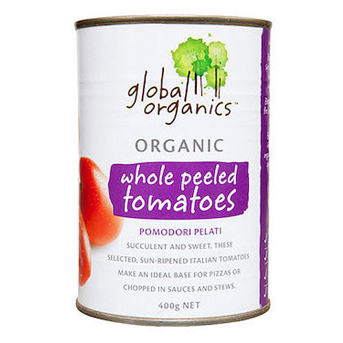 GLOBAL ORGANICS Organic Tomatoes Whole Peeled 400g