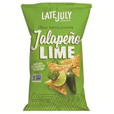 LATE JULY Organic Multigrain Tortilla Chips Jalapeno Lime 156g