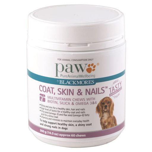 PAW By Blackmores Coat, Skin & Nails Multivitamin Chews, approx 60, 300g