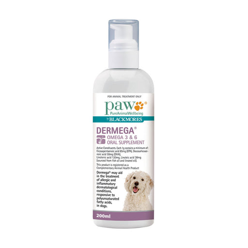 PAW By Blackmores Oral Supplement Dermega Omega 3 & 6 200ml