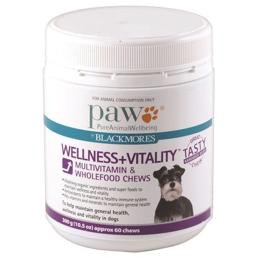 PAW By Blackmores Multivitamin & Wholefood Chews, approx 60, Wellness + Vitality 300g