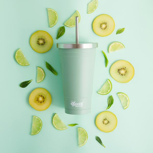 CHEEKI Insulated Tumbler with Stainless Steel Straw - 500ml Pistachio