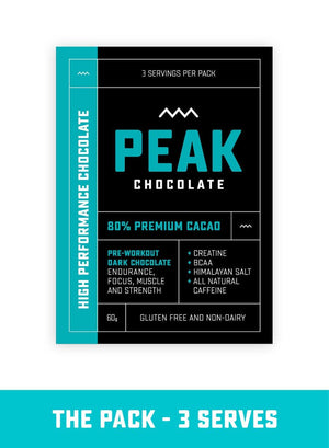 PEAK CHOCOLATE Pre-Workout Dark Chocolate 3 Serves