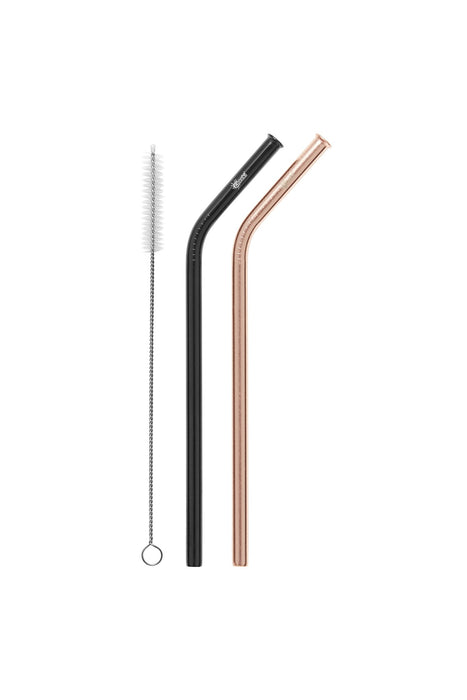 CHEEKI Stainless Steel Straws - Bent - Rose Gold & Black