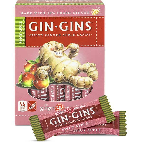 THE GINGER PEOPLE Gin Gins Ginger Candy Chewy Spicy Apple 84g