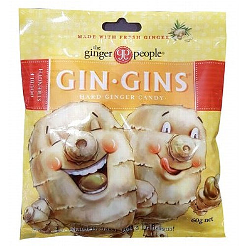 THE GINGER PEOPLE Gin Gins Ginger Candy Bag Hard - Double Strength 84g