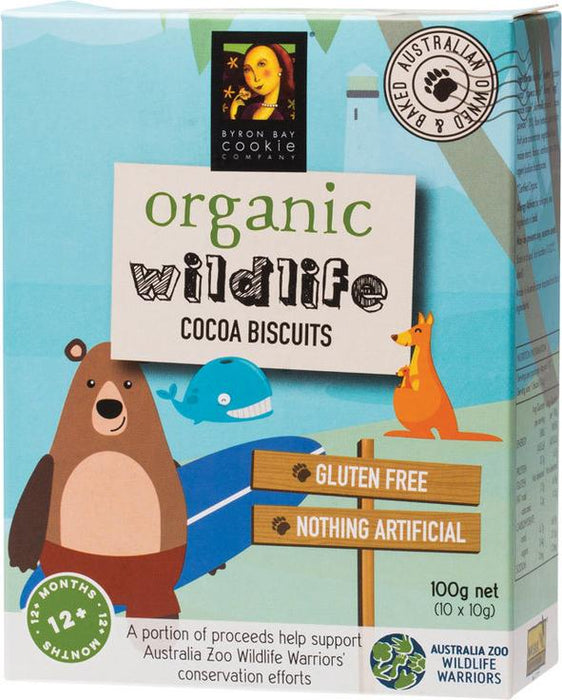 BYRON BAY COOKIES Organic Wildlife Biscuits Individually Wrapped - Cocoa