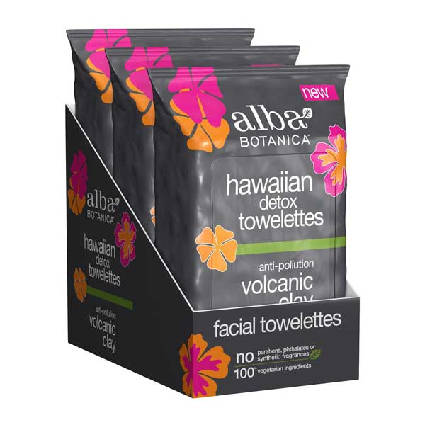 ALBA HAWAIIAN Anti-Pollution Face Wipes Towelettes w Volcanic Clay 30 pcs