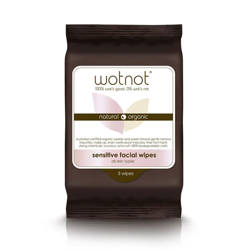 WOTNOT Organic Facial Wipes Sensitive Skin (5 Pack)