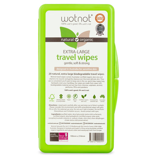 WOTNOT Organic Travel Wipes With Case 20 pcs