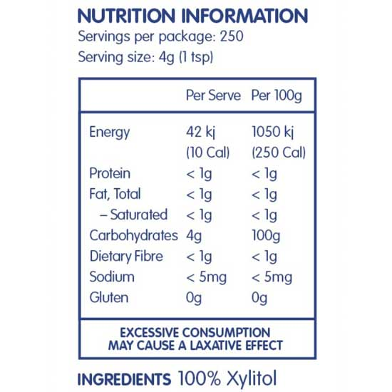NATURALLY SWEET Birch Xylitol Extracted from Birch Trees 1kg Nutritional Information