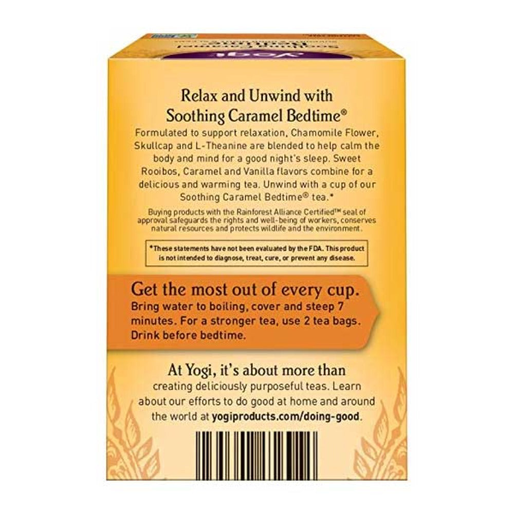 YOGI Organic Herbal Tea Soothing Caramel Bedtime Back Side