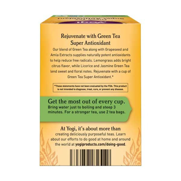 YOGI TEA - Organic Herbal Tea Bags Green Tea Super Antioxidant Back Side