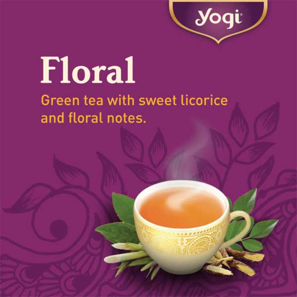 YOGI TEA Organic Herbal Tea Bags Green Tea Super Antioxidant Info Sheet