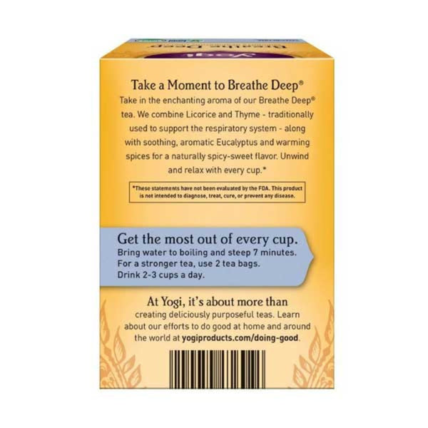 YOGI TEA Organic Herbal Tea Breathe Deep Back Side