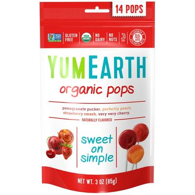 YUMEARTH Organic Lollipops Bags Assorted Fruit 85g/14 lollipops per bag