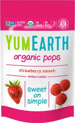 YUMEARTH Organic Lollipops Bags Strawberry 85g/14 lollipops per bag