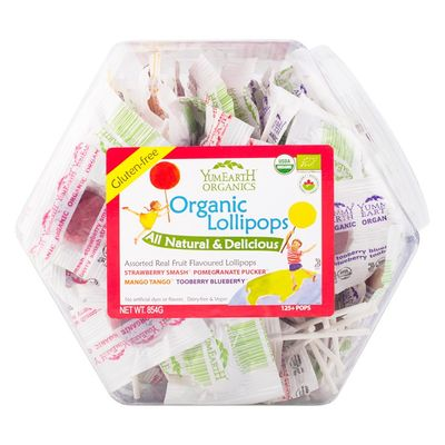 YUMEARTH Organic Lollipops Counter Tub Assorted 854g/125+ lollipops