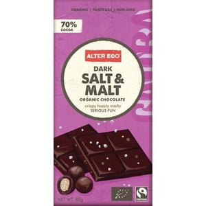 ALTER ECO Chocolate (Organic) Dark Salt & Malt 80g