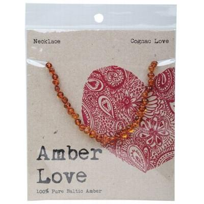 AMBER LOVE Childrens Necklace Baltic Amber Cognac Love 33cm