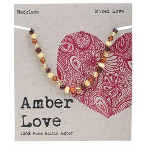 AMBER LOVE Childrens Necklace Baltic Amber Mixed Love 33cm