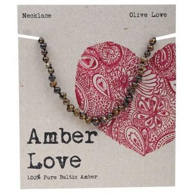 AMBER LOVE Childrens Necklace Baltic Amber Olive Love 33cm