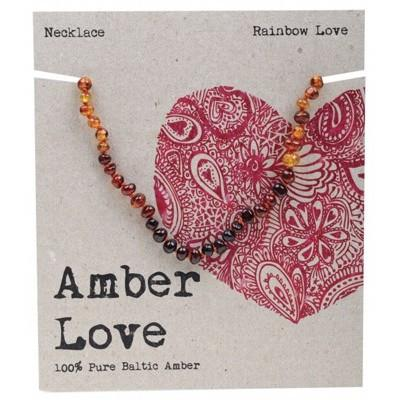 AMBER LOVE Childrens Necklace Baltic Amber Rainbow Love 33cm