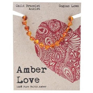 AMBER LOVE Childrens Bracelet/Anklet Baltic Amber Cognac Love 14cm