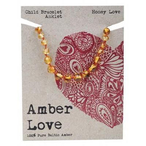 AMBER LOVE Childrens Bracelet/Anklet Baltic Amber Honey Love 14cm