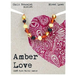 AMBER LOVE Childrens Bracelet/Anklet Baltic Amber Mixed Love 14cm