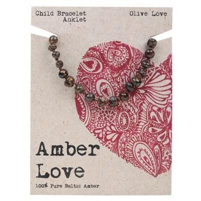 AMBER LOVE Childrens Bracelet/Anklet Baltic Amber Olive Love 14cm