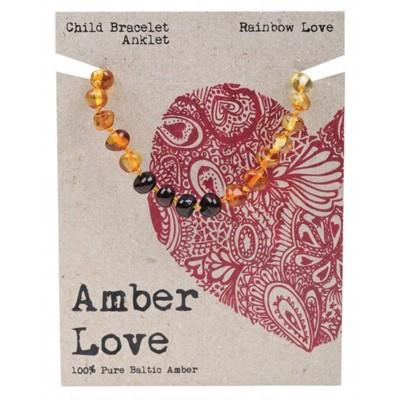 AMBER LOVE Childrens Bracelet/Anklet Baltic Amber Rainbow Love 14cm