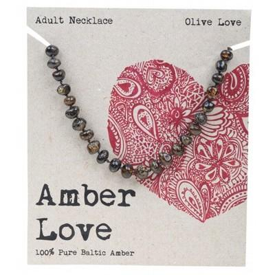 AMBER LOVE Adult's Necklace Baltic Amber - Olive Love 46cm