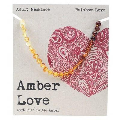 AMBER LOVE Adult's Necklace Baltic Amber - Rainbow Love 46cm