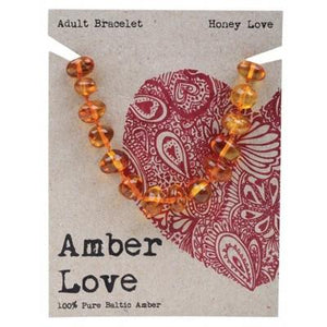AMBER LOVE Adult's Bracelet Baltic Amber - Honey Love 20cm
