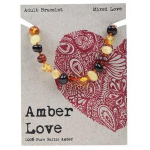 AMBER LOVE Adult's Bracelet Baltic Amber - Mixed Love 20cm