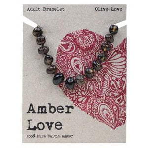 AMBER LOVE Adult's Bracelet Baltic Amber - Olive Love 20cm
