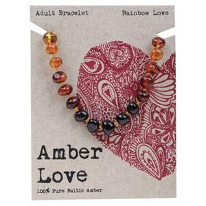 AMBER LOVE Adult's Bracelet Baltic Amber - Rainbow Love 20cm