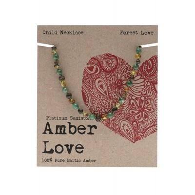 AMBER LOVE Children's Necklace Baltic Amber - Forest Love 33cm