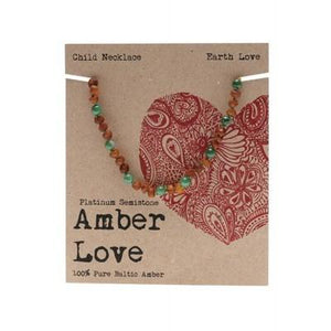 AMBER LOVE Children's Necklace Baltic Amber - Earth Love 33cm