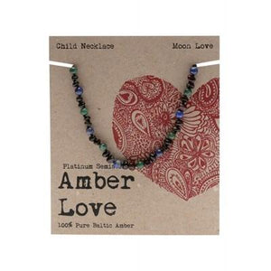 AMBER LOVE Children's Necklace Baltic Amber - Moon Love 33cm