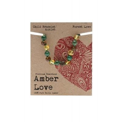 AMBER LOVE Children's Bracelet/Anklet Baltic Amber - Forest Love 14cm