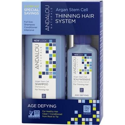 ANDALOU NATURALS Organic Thinning Hair System 3 Piece Kit Includes Shampoo, Conditioner & Treatment