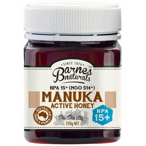 BARNES NATURALS Organic Manuka Active Honey NPA 15+ (MGO514+) 250g