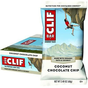 CLIF Coconut Chocolate Chip Organic Energy Bar Box