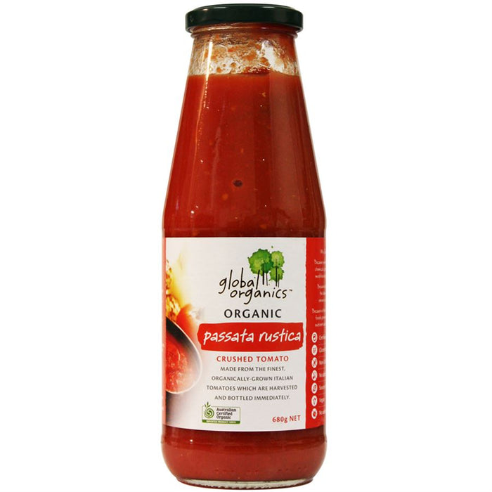 GLOBAL ORGANICS Organic Tomato Passata (Crushed) Sauce in Glass Bottle 680g