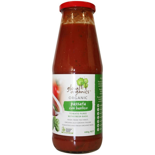 GLOBAL ORGANICS Organic Tomato Passata Puree with Basil in glass 680g