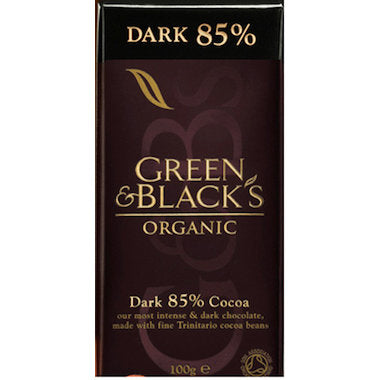 GREEN & BLACK'S Organic Dark Chocolate Block 85% Cocoa 100g