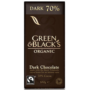 GREEN & BLACK'S Organic Dark Chocolate Block 70% Cocoa 100g