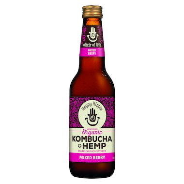HAPPY HIPPIE Organic Kombucha + Hemp Mixed Berry 330mL